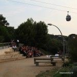 teleférico de Montjuïc sobrevolando una boda