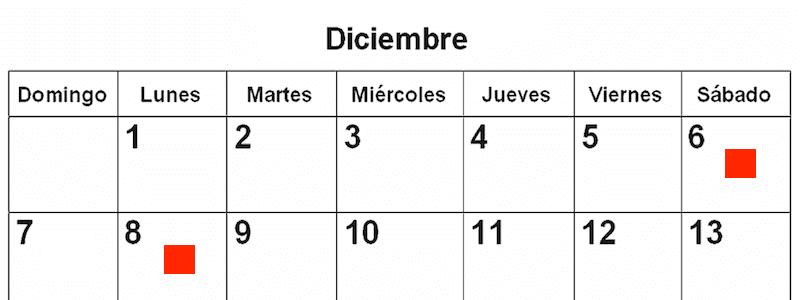 6 y 8 diciembre