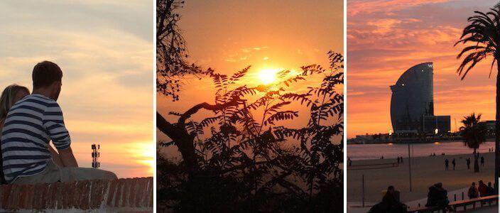 puesta de sol y atardecer en Barcelona