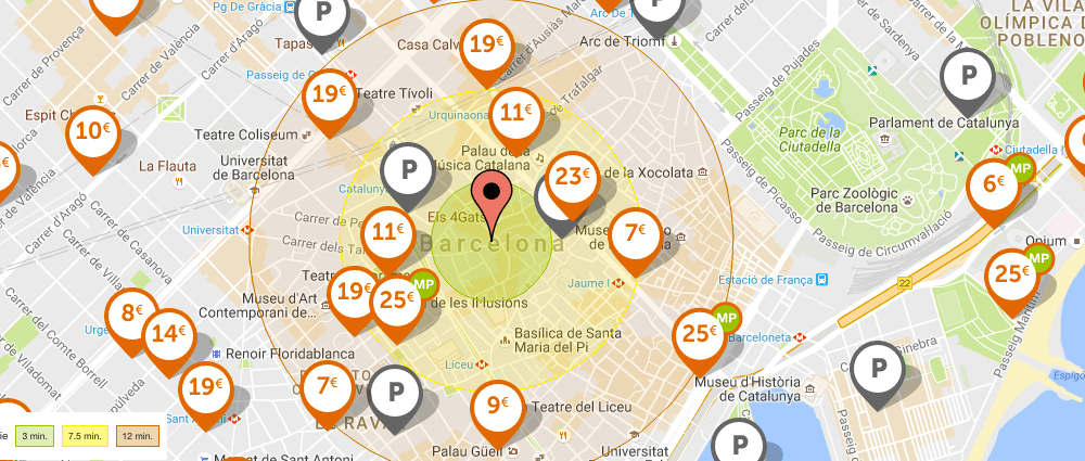 Mapa parkings Barcelona