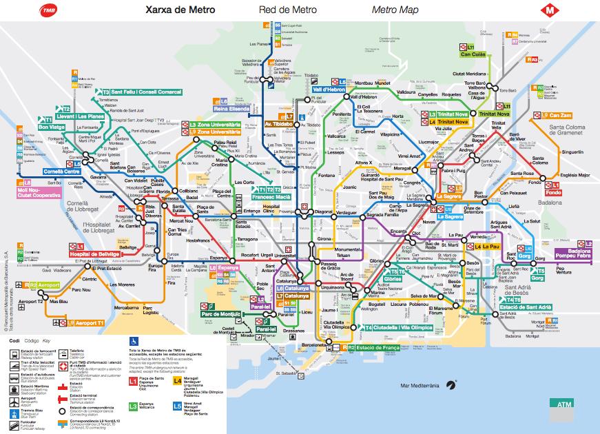 mapa Metro Barcelona 2017