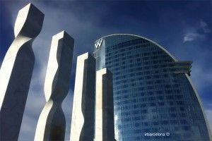 W Barcelona from Rosa dels Vents square