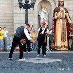 tirando la pólvora en la plaza Sant Jaume