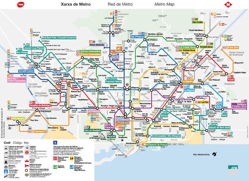 mapa líneas de metro Barcelona